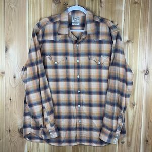 Lucky Brand Plaid XL Button Down Pearl Snap Shirt